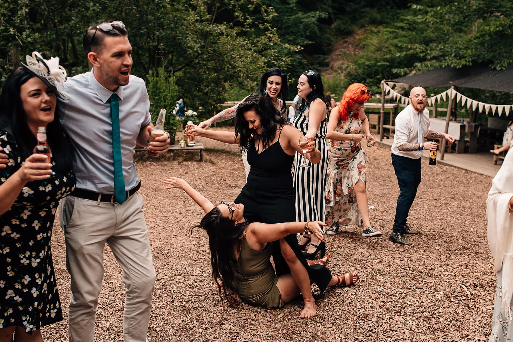 adventurous forest wedding party