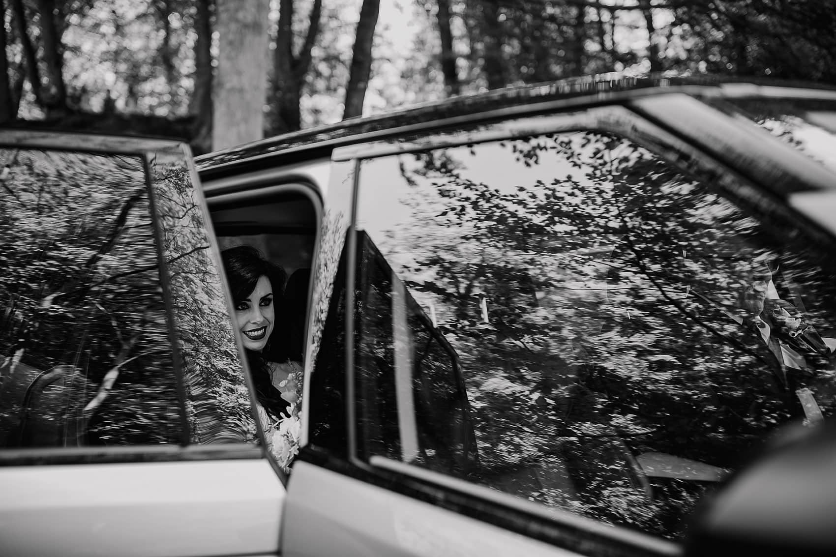 alternative woodland wedding brides arrival photography