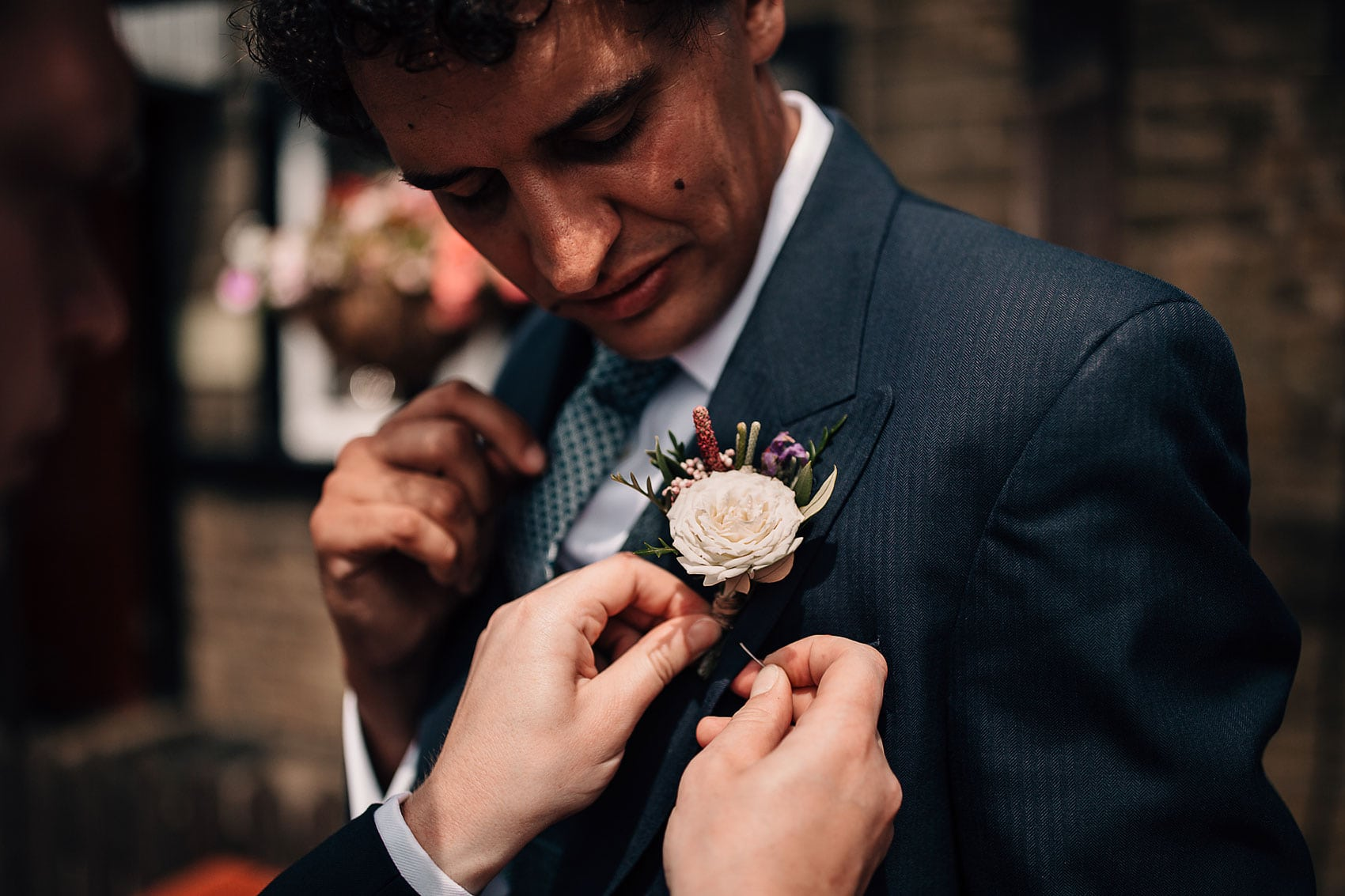 groom outdoor wedding Yorkshire