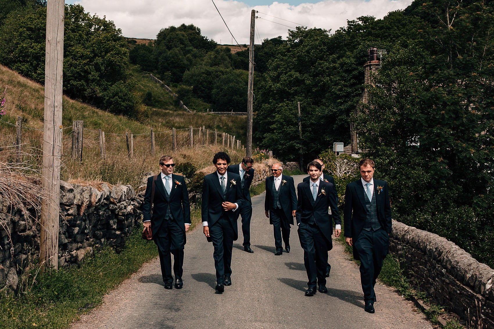 groomsmen outdoor summer wedding Yorkshire photography