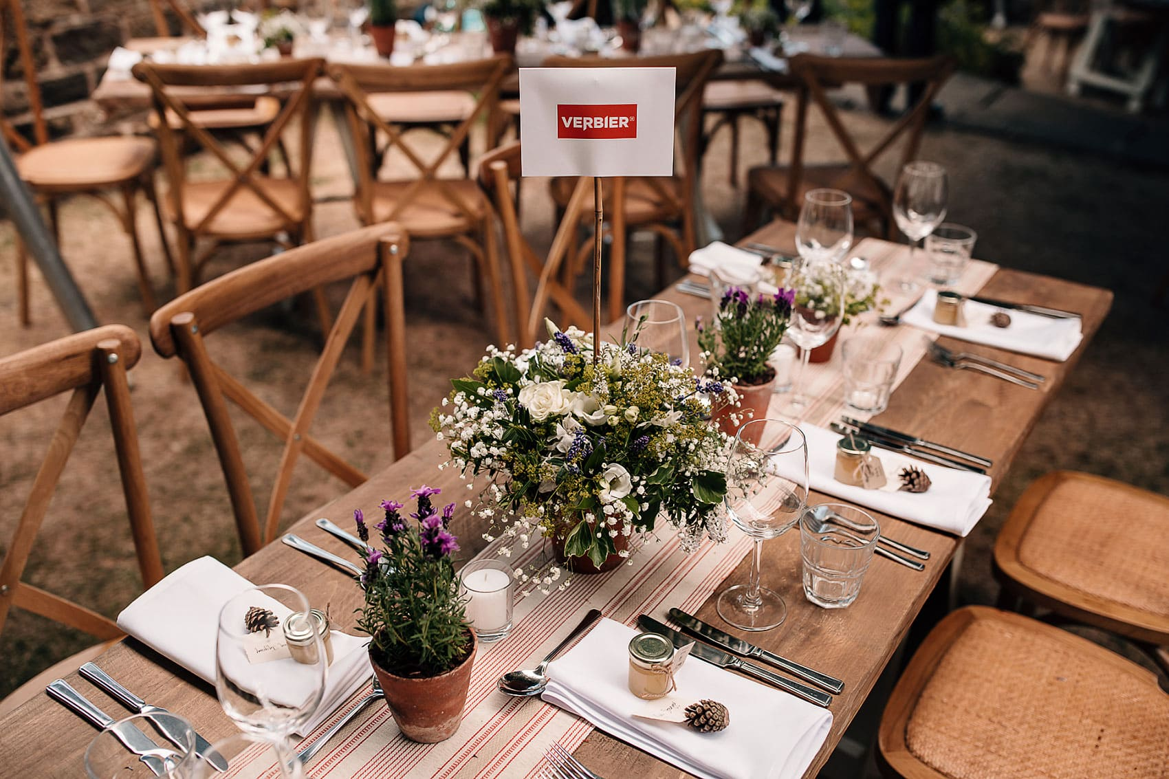 marquee wedding decor rustic wooden tables