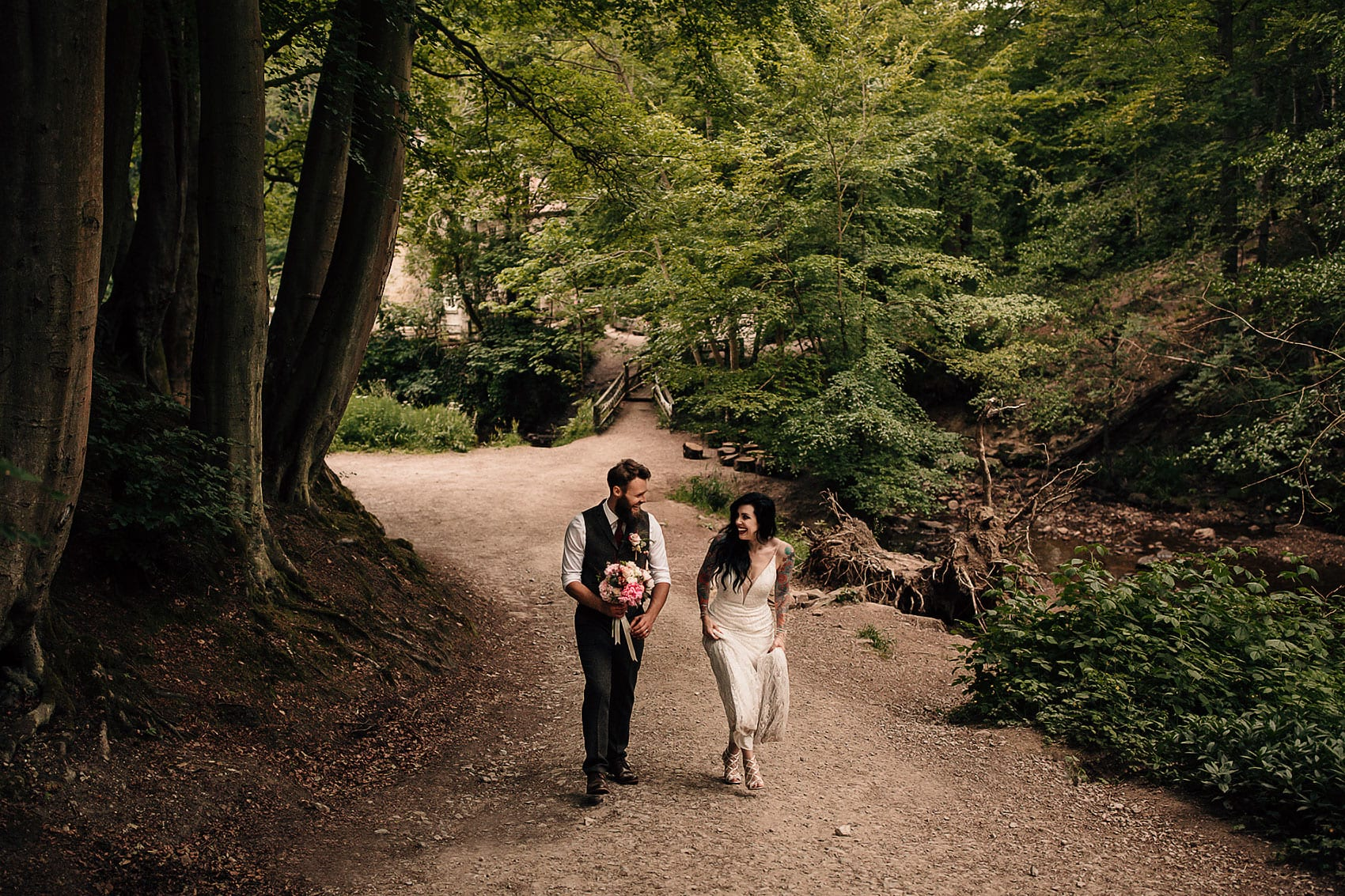 outdoor boho woodland forest wedding photography