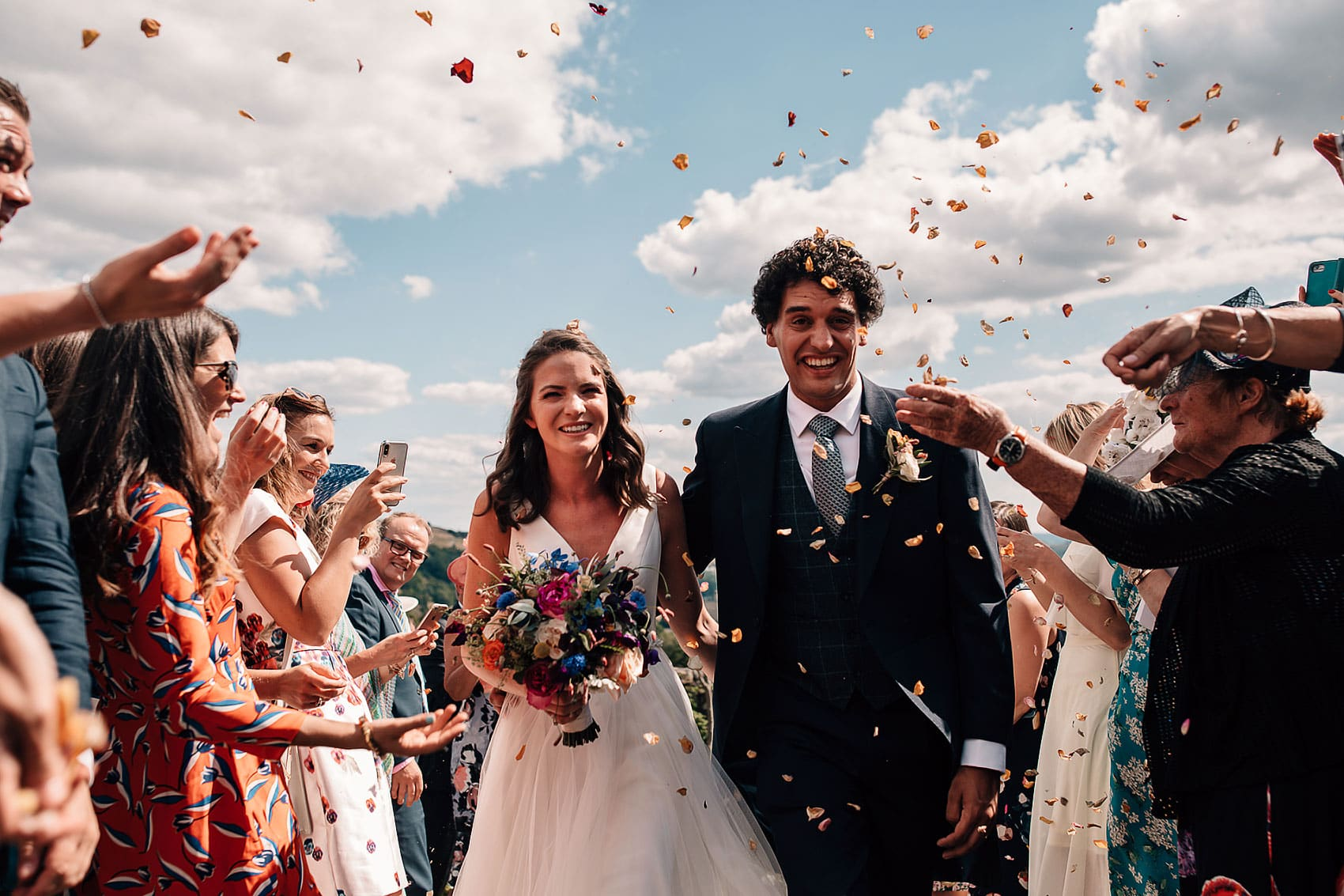 outdoor wedding confetti walk