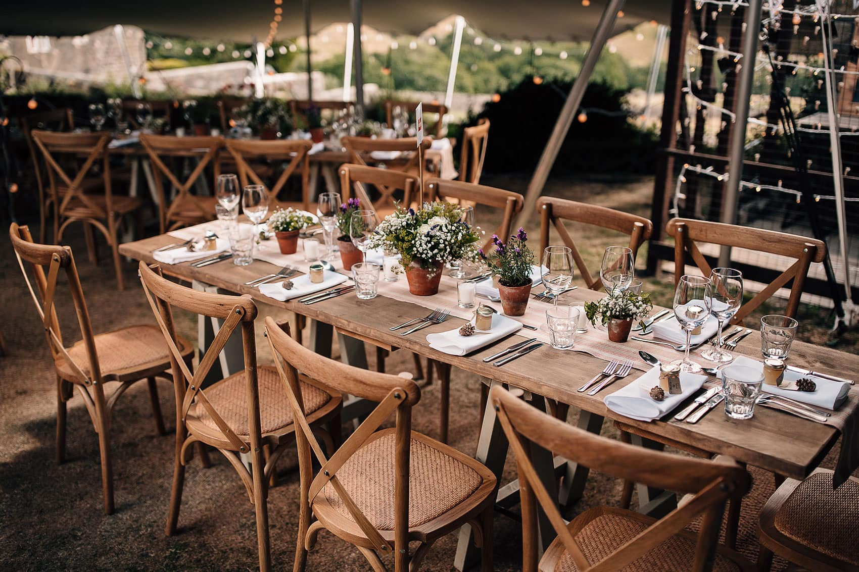 rustic wedding decor marquee