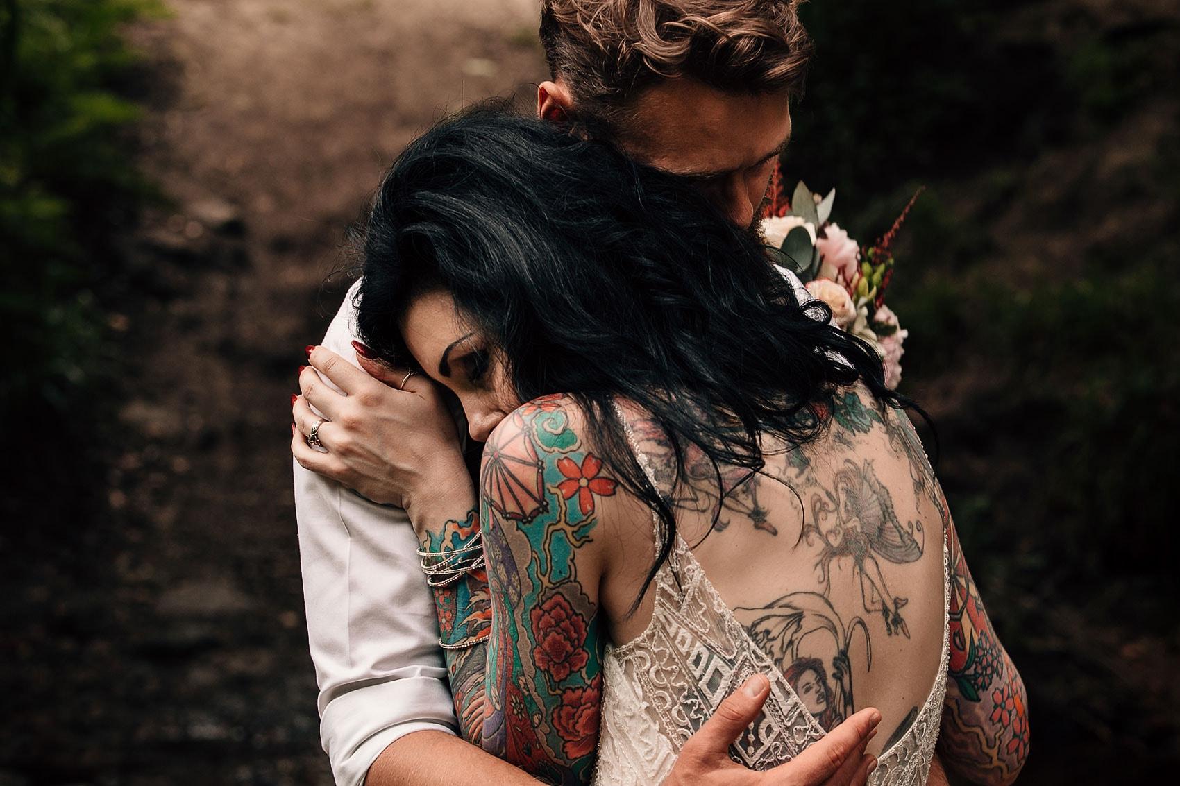 woodland wedding forest photographer tattoo bride