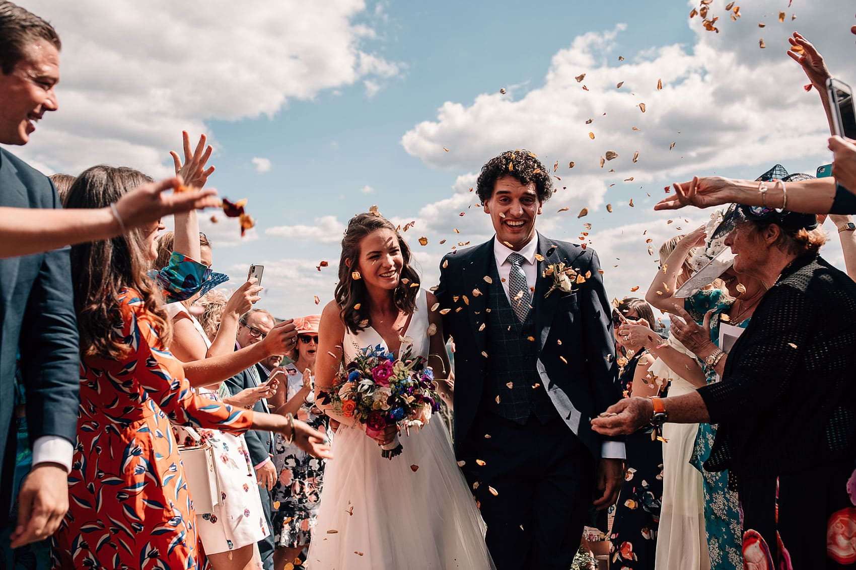 Yorkshire back garden wedding confetti