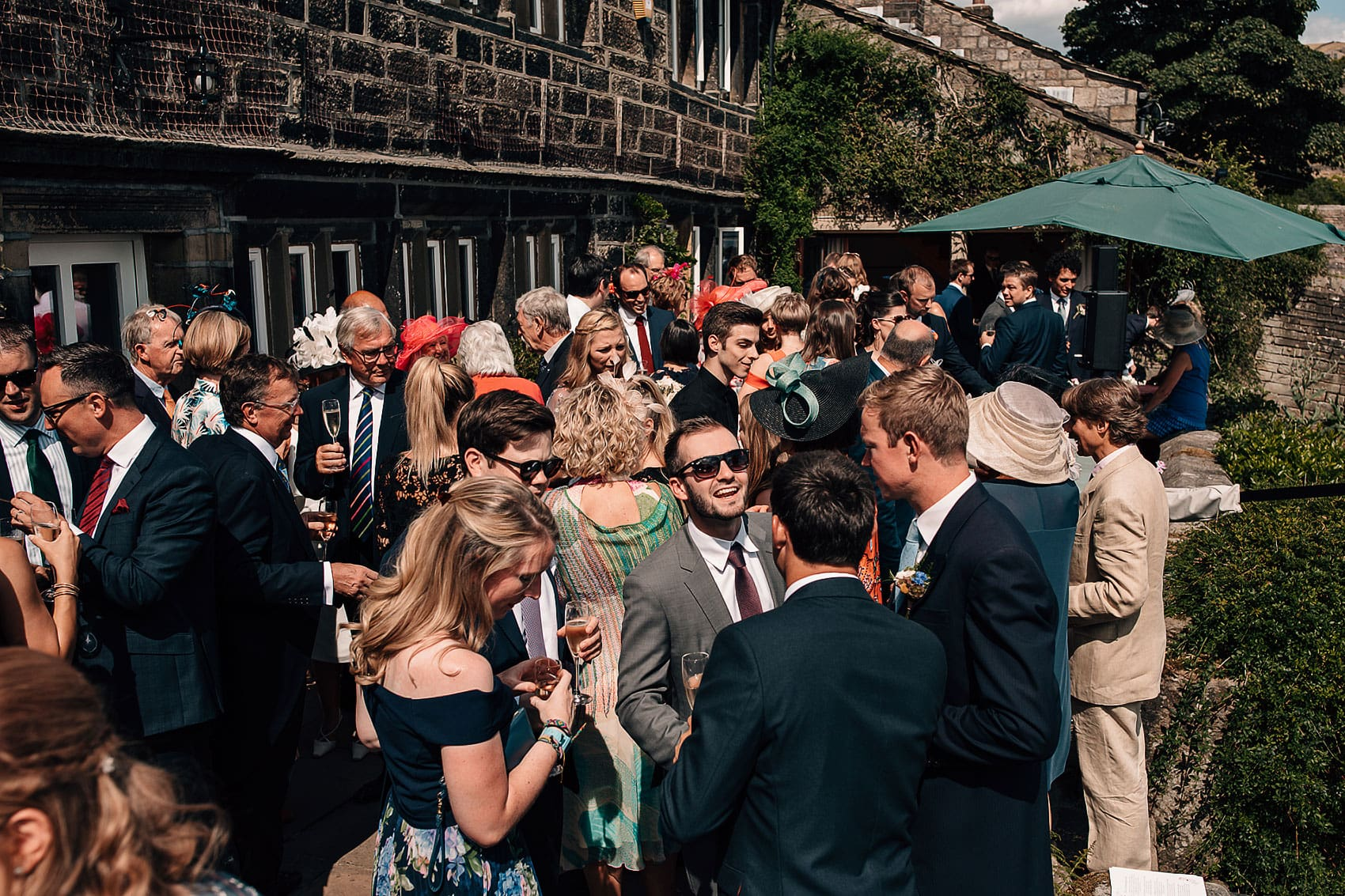 Yorkshire garden wedding guests summer
