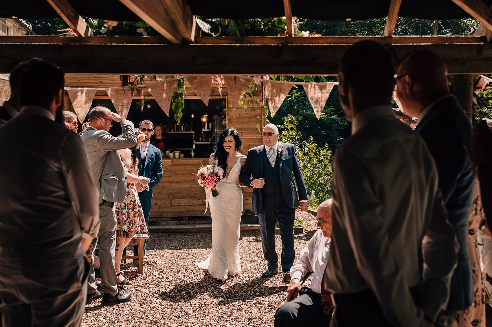 Yorkshire wedding photography forest brides arrival