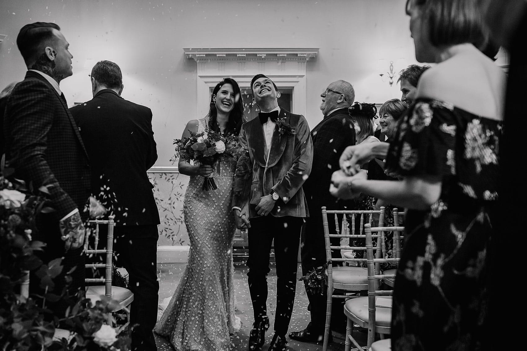 Hollywood style wedding confetti Middleton Lodge