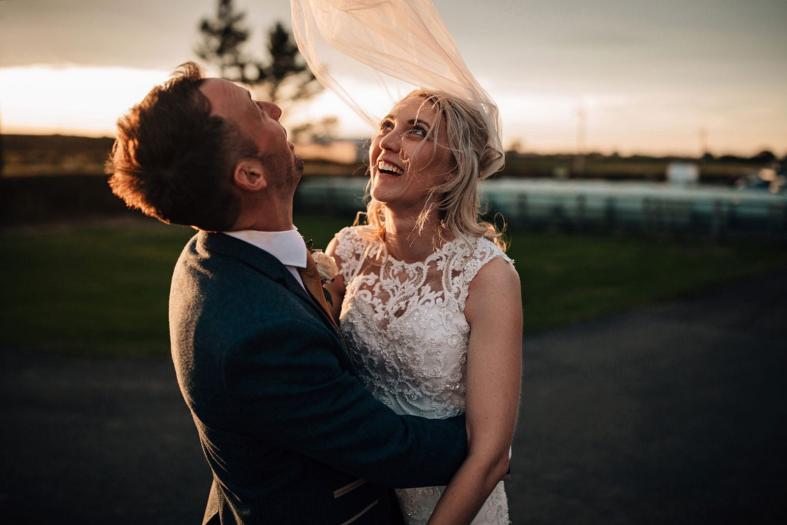 Farm wedding brides veil