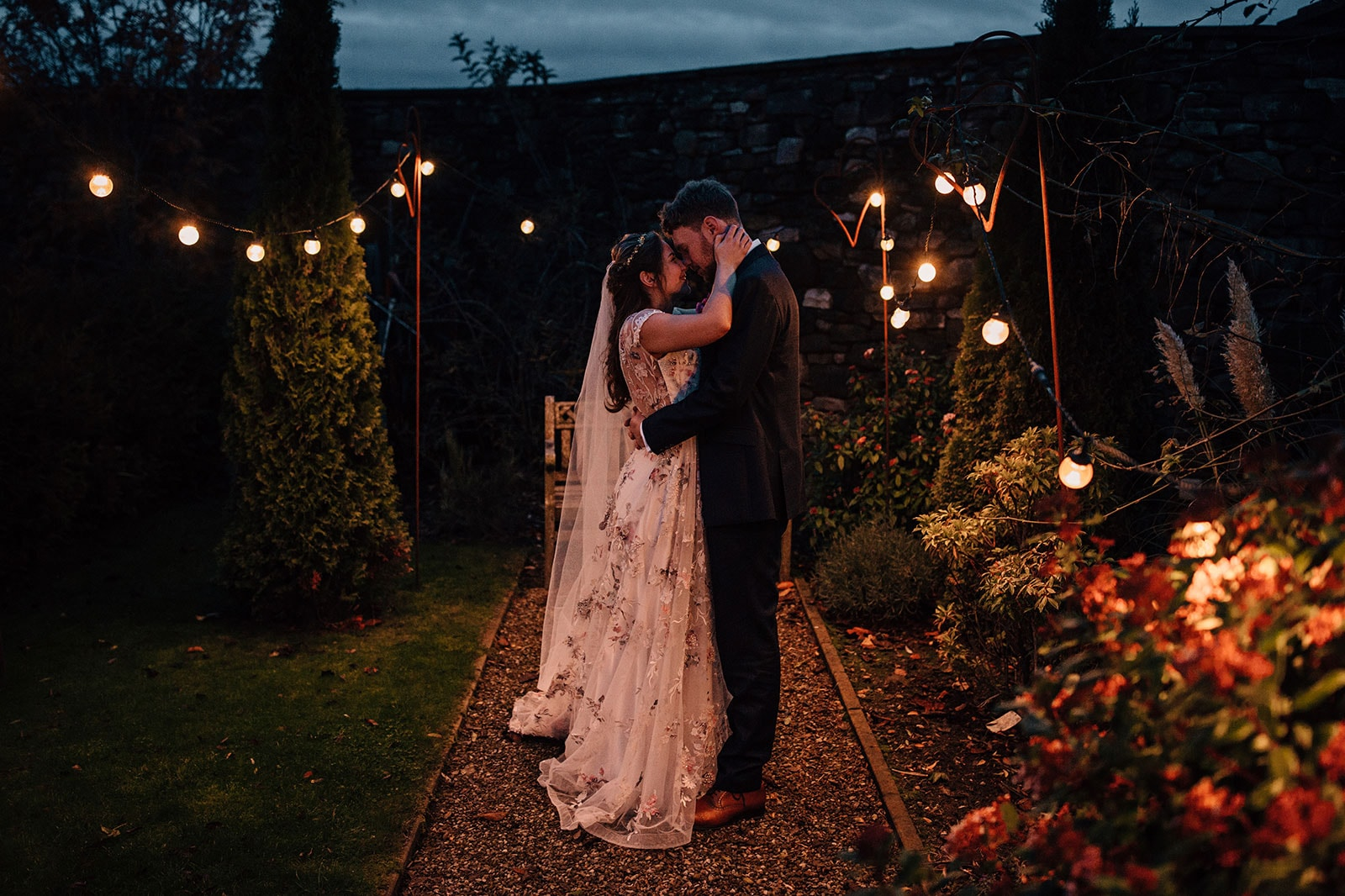 festoon lights wedding photographer Yorkshire Wedding Barn