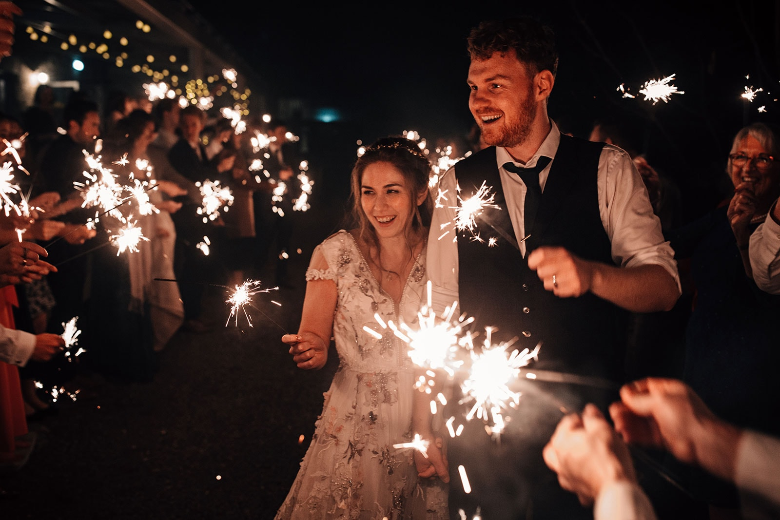 Yorkshire Wedding Barn photographer sparklers