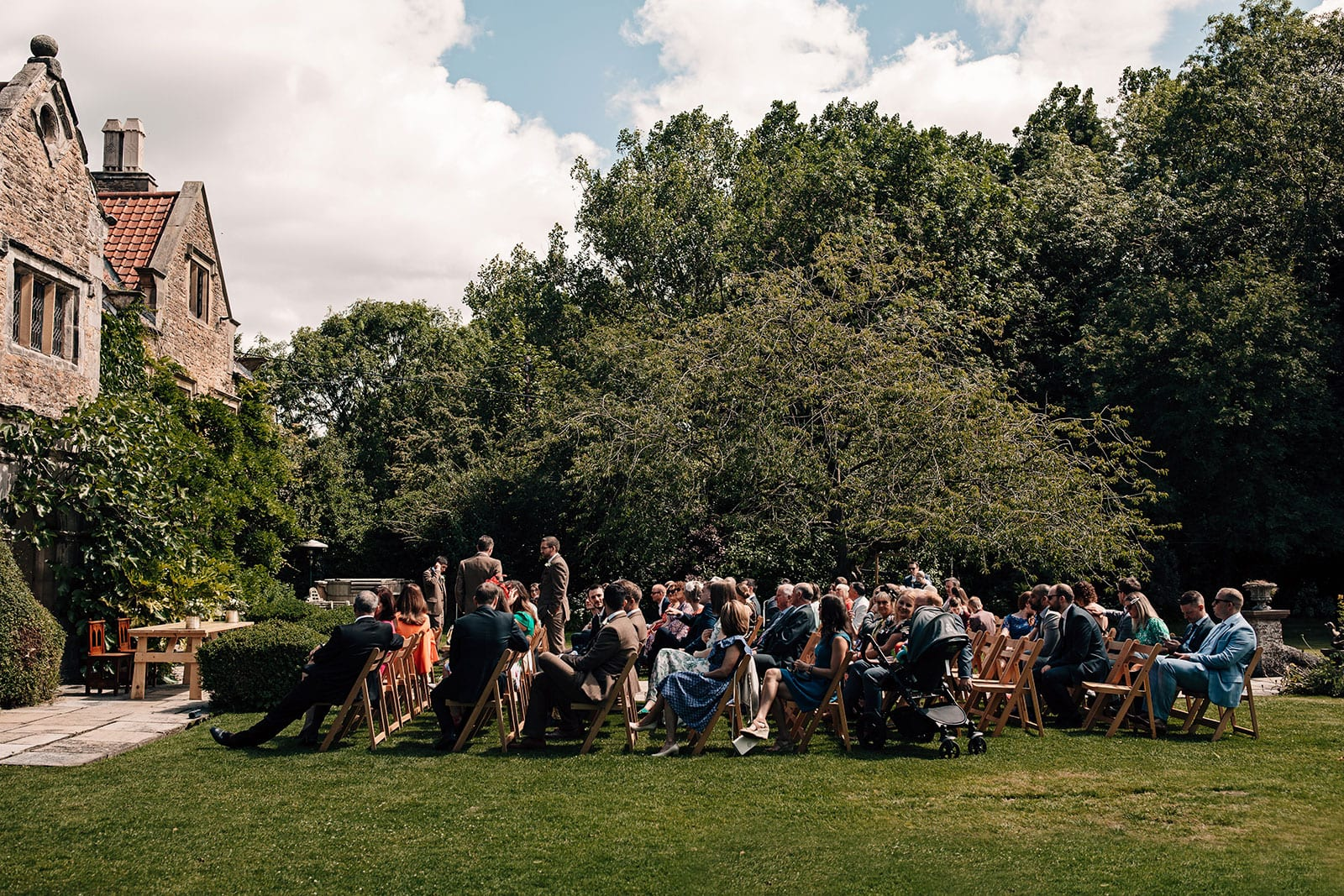Crayke Manor York outdoor wedding ceremony photography