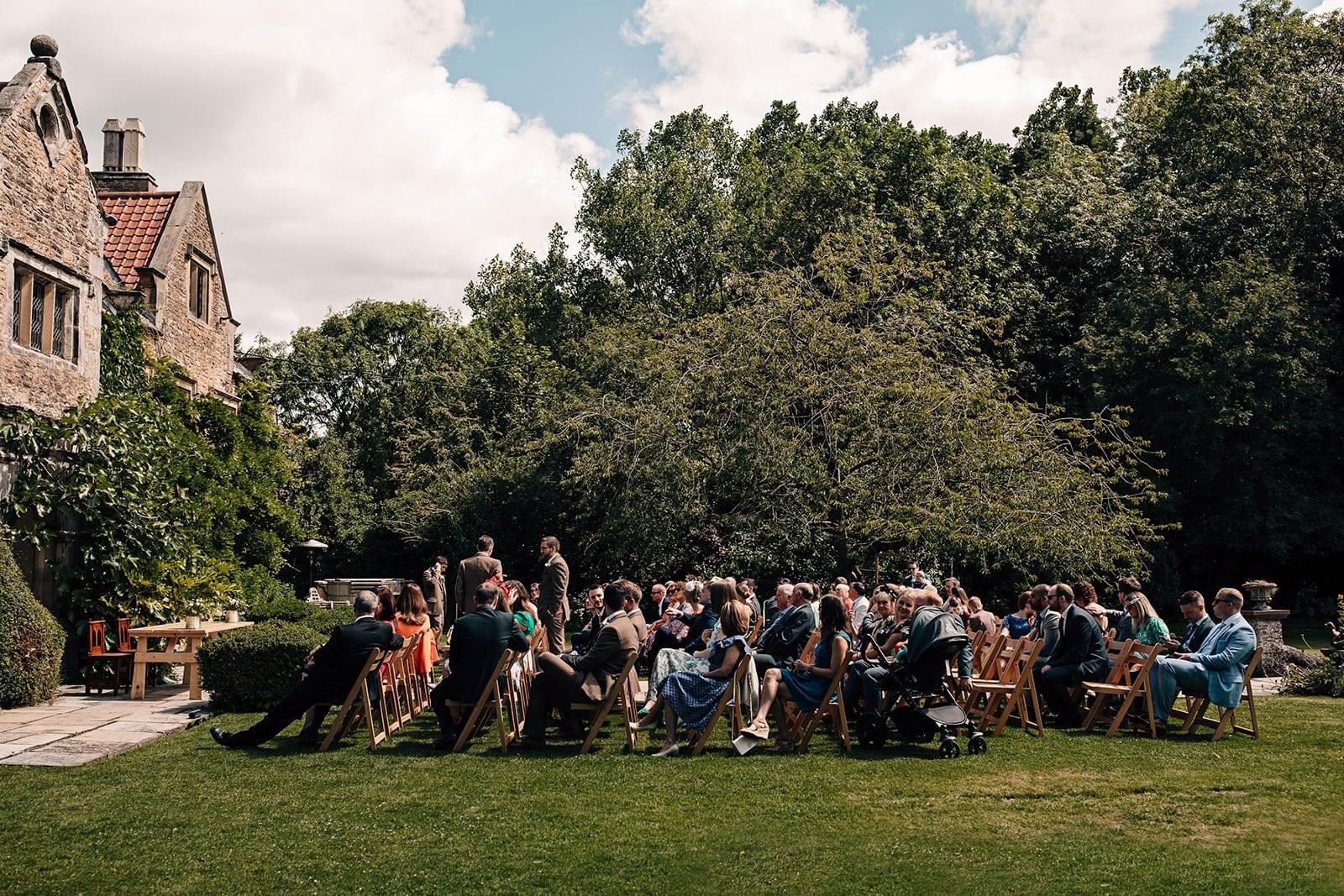 Crayke Manor York outdoor wedding ceremony photography