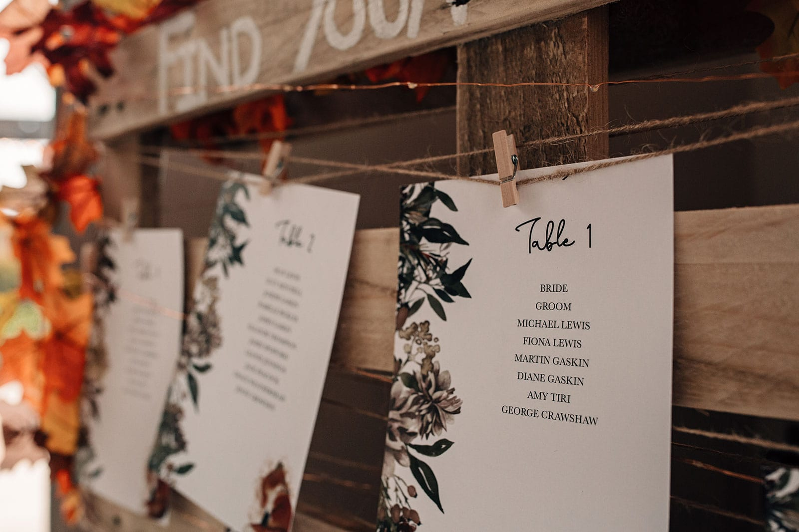 autumn themed wedding stationery