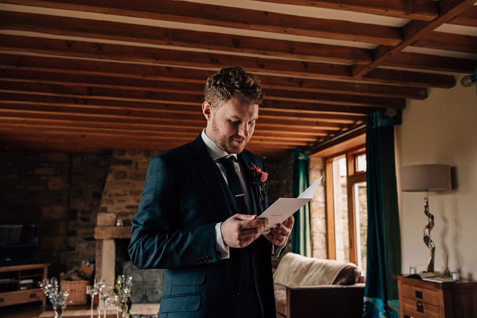 groom preparations Yorkshire wedding barn Gilling West