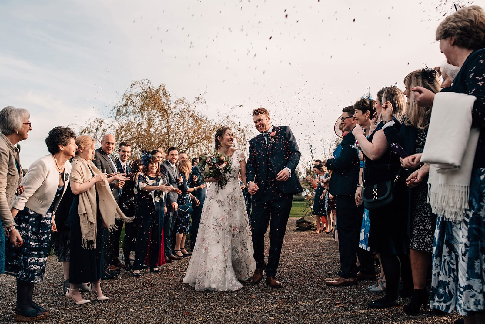 Yorkshire Wedding Barn photography confetti