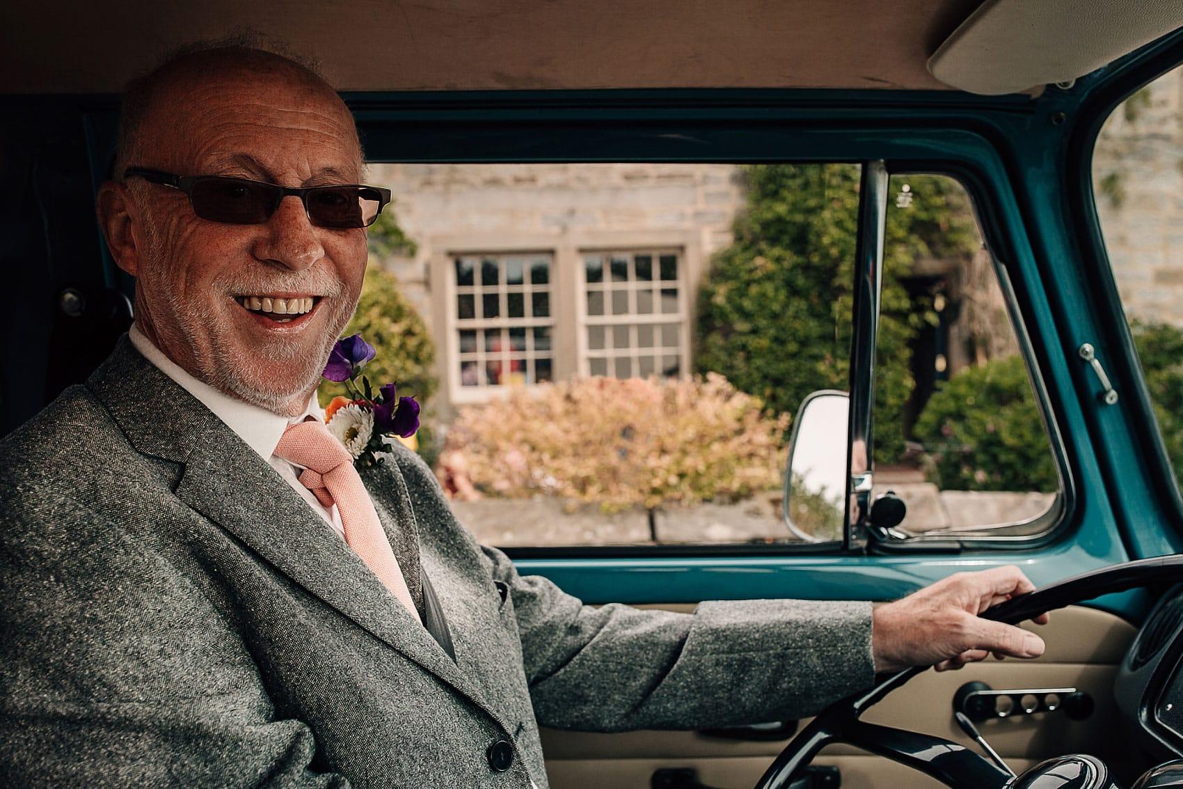bohemian wedding wheels Yorkshire photographer