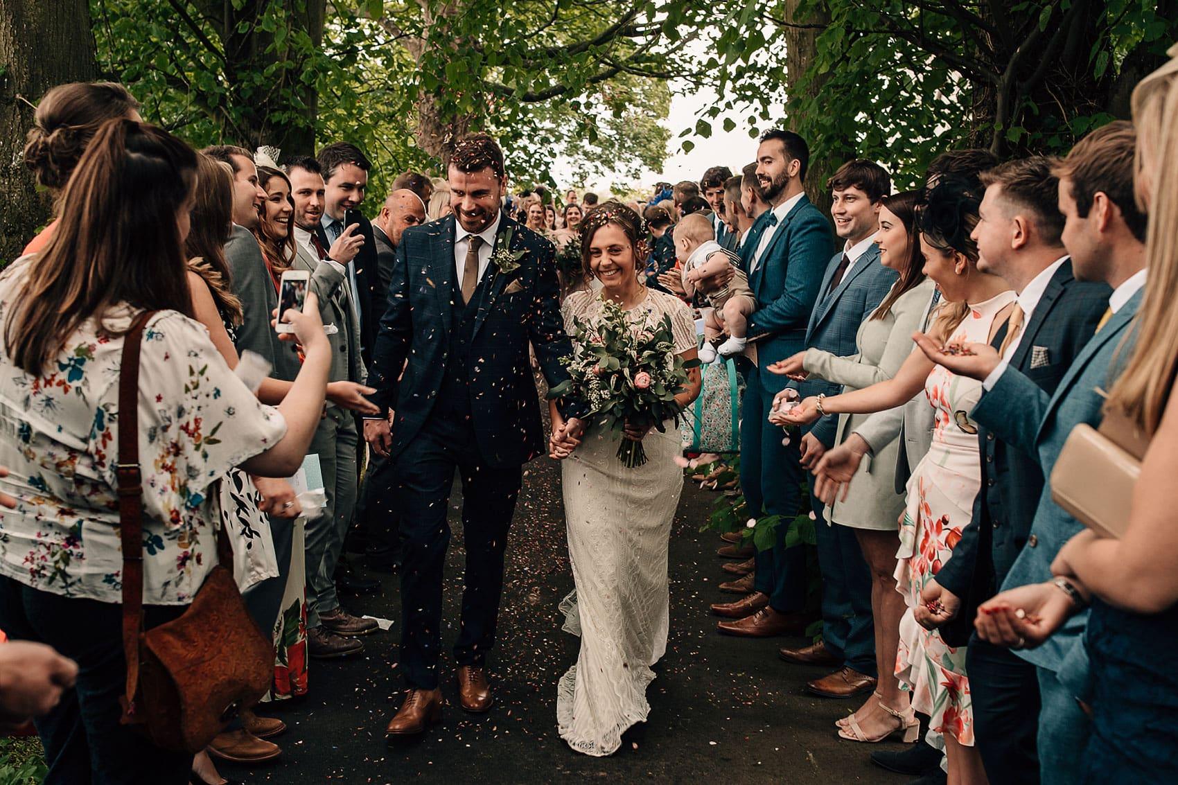 country garden marquee wedding confetti