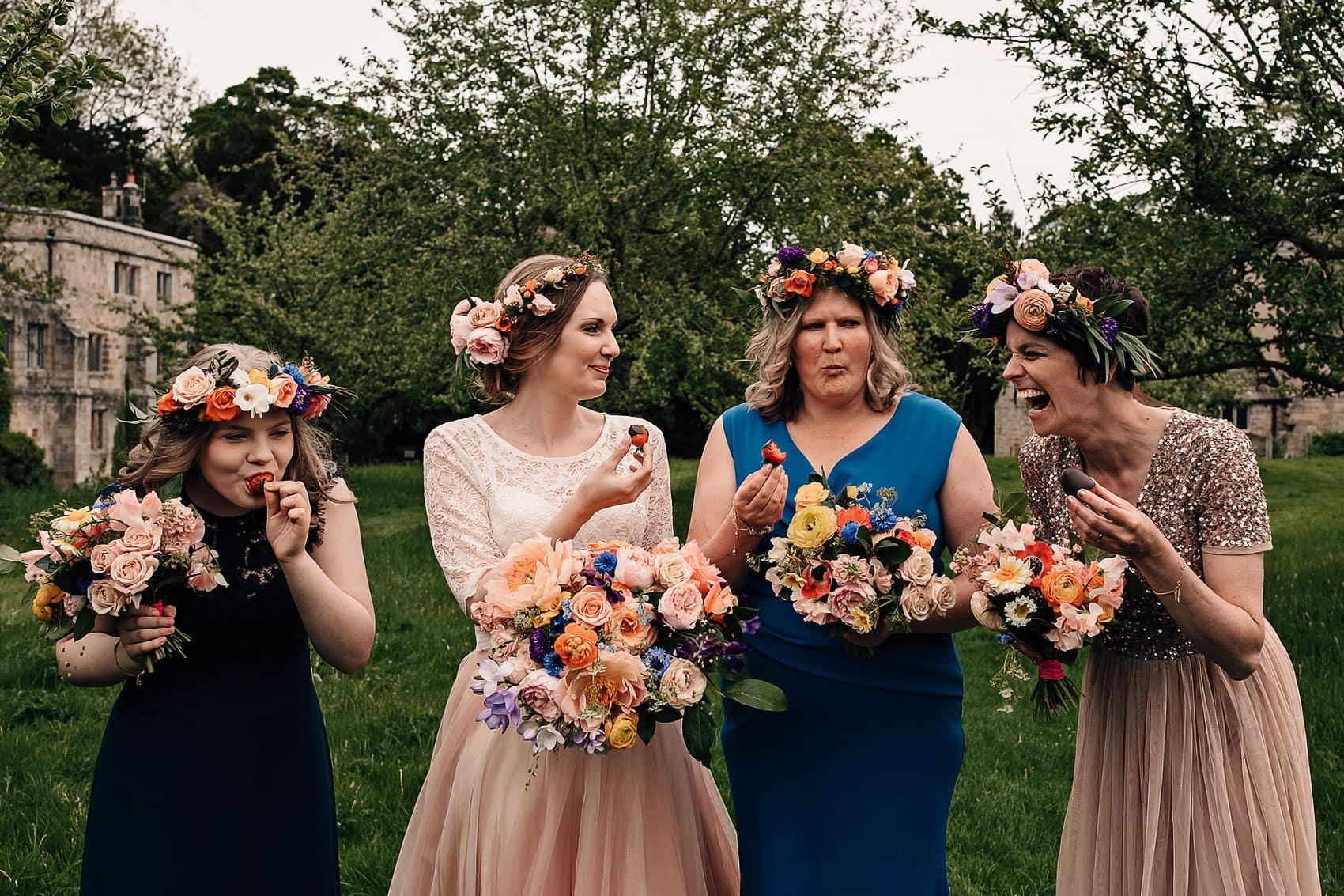 bohemian bridesmaids flower crowns outdoor wedding