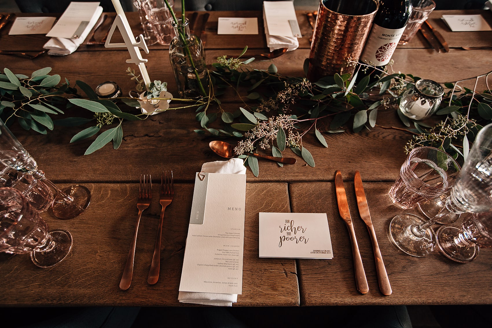 foliage rose gold wedding styling Yorkshire photographer