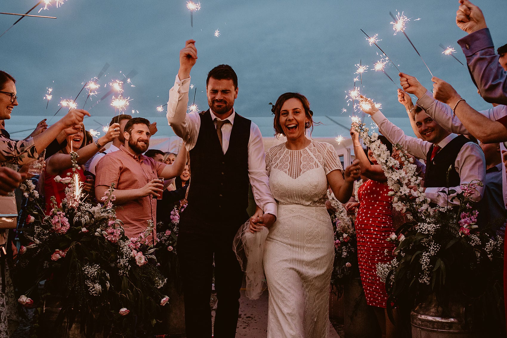 garden wedding sparklers Yorkshire photography