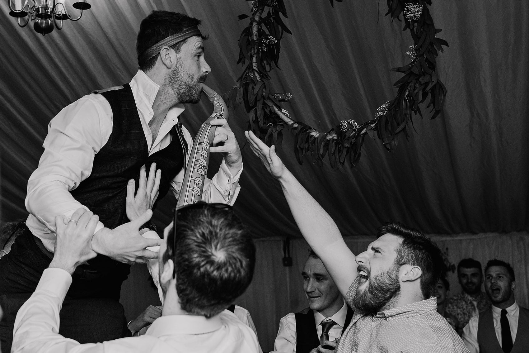 outdoor country marquee wedding party photography