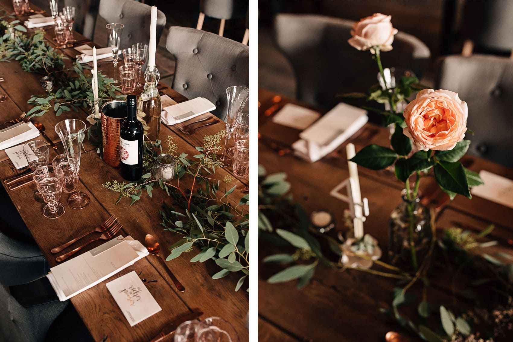 barn wedding photography rose gold copper foliage styling