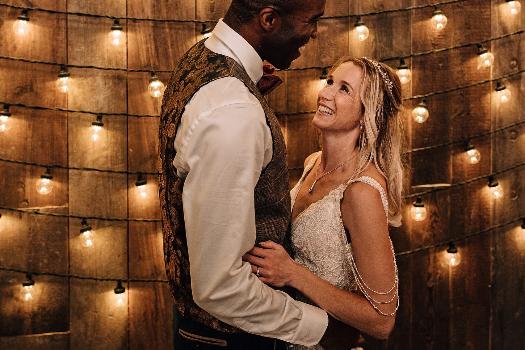 wooden wedding barn Wharfedale Grange festoon lights