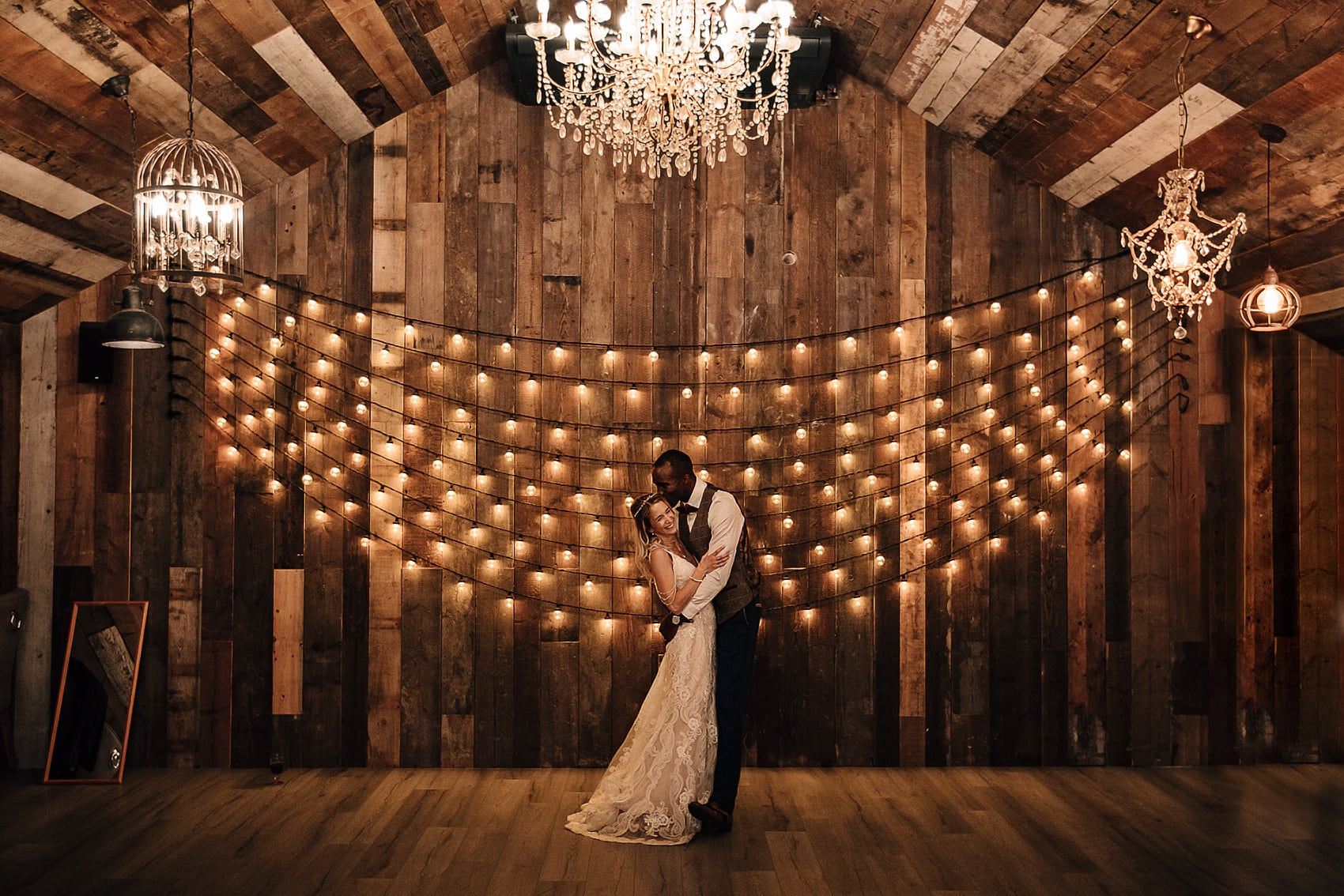festoon lights wedding barn photography