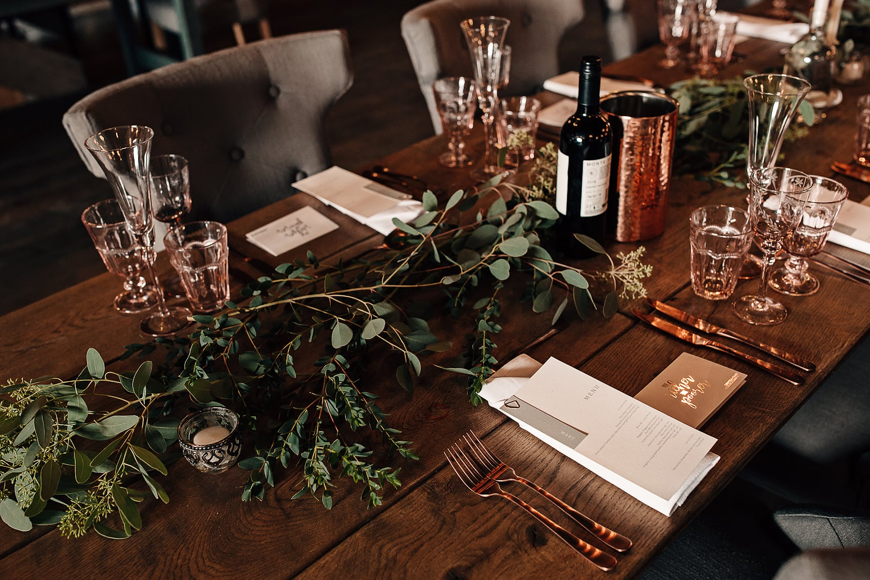 rose gold copper foliage wedding barn styling