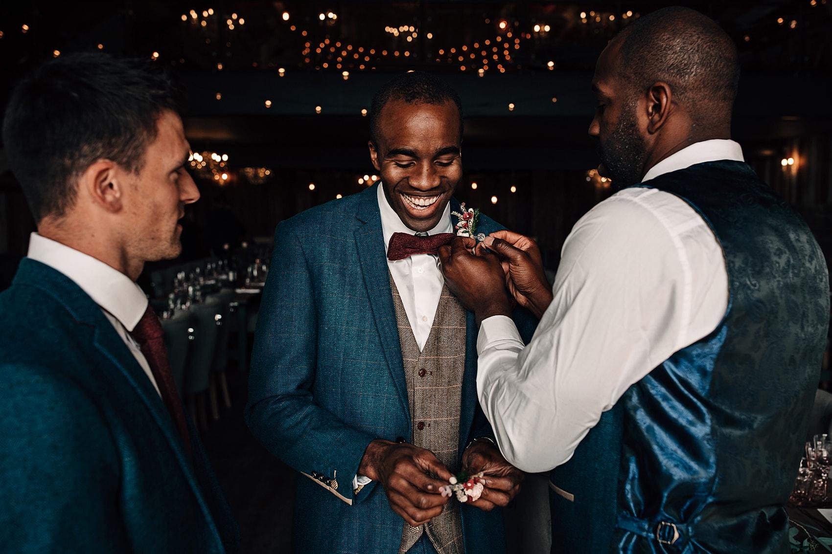 blue suit bowtie wedding Yorkshire