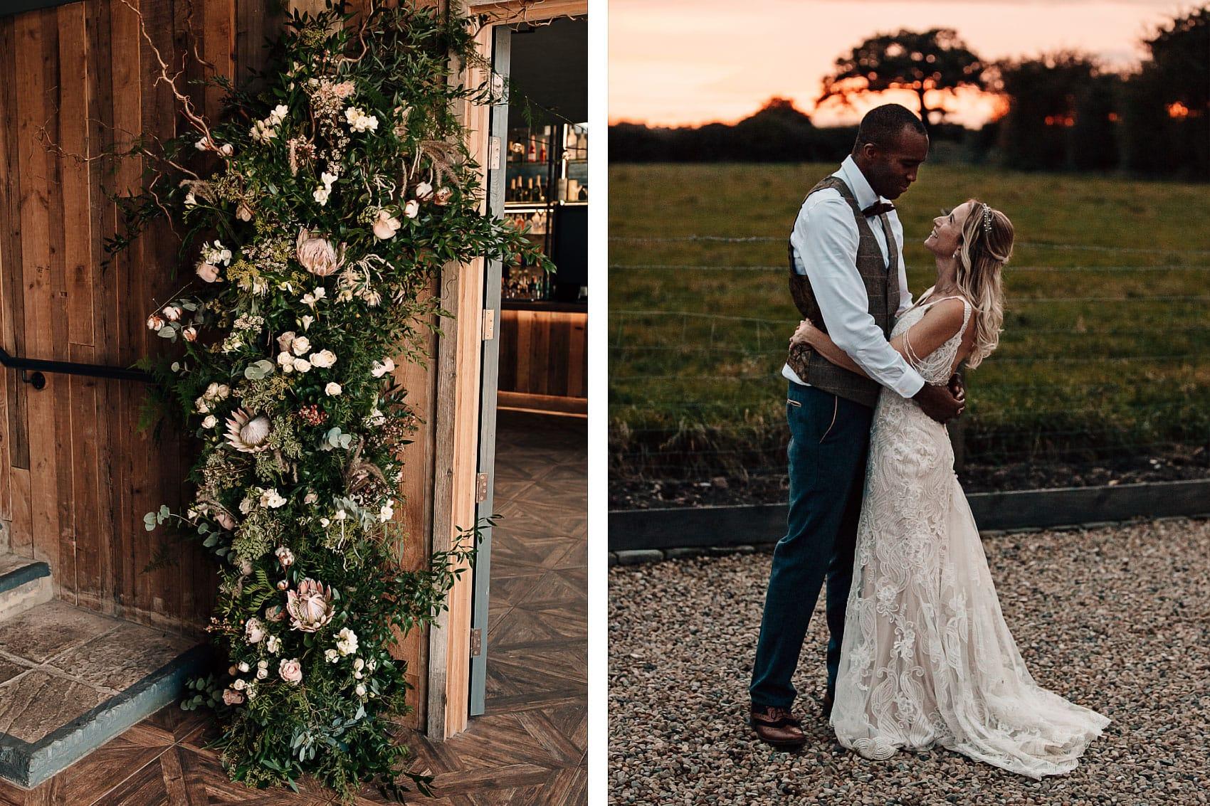 Yorkshire sunset wedding photography lace dress