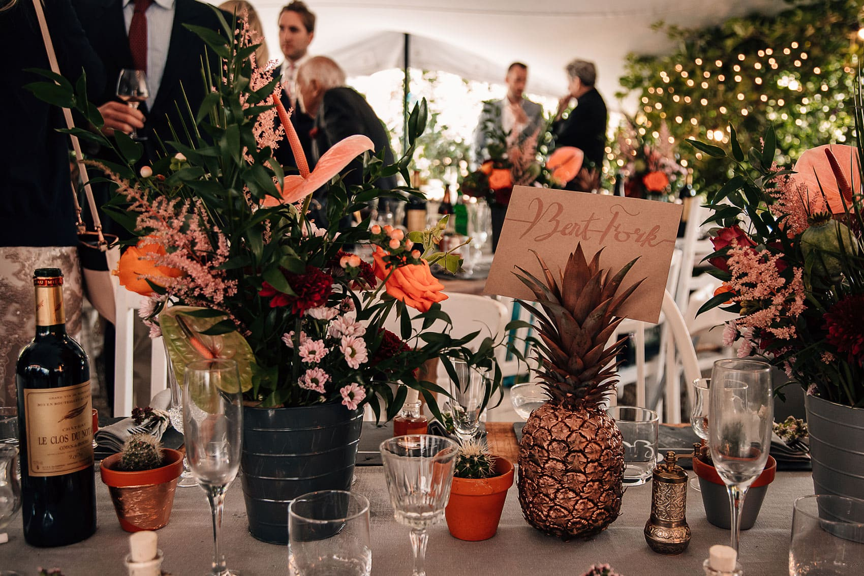 Australian themed wedding decor tropical