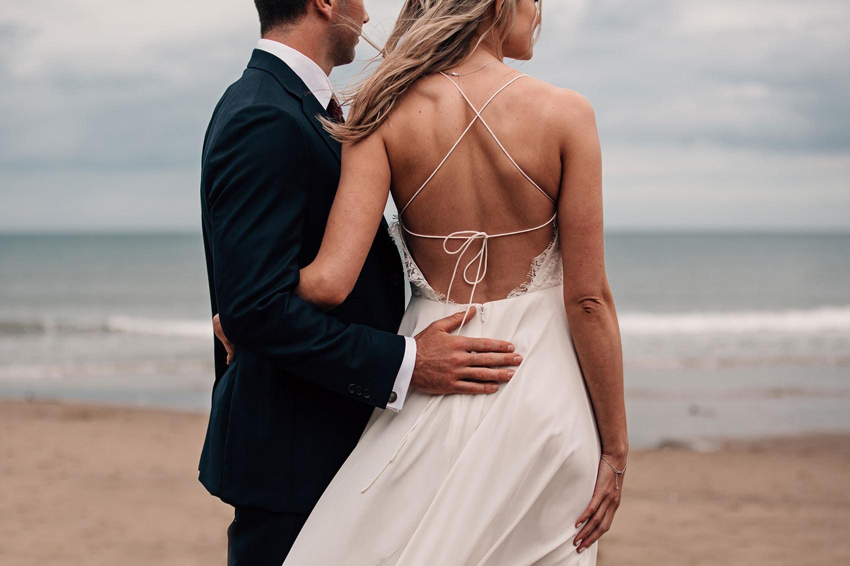 bride and groom beach wedding photoshoot