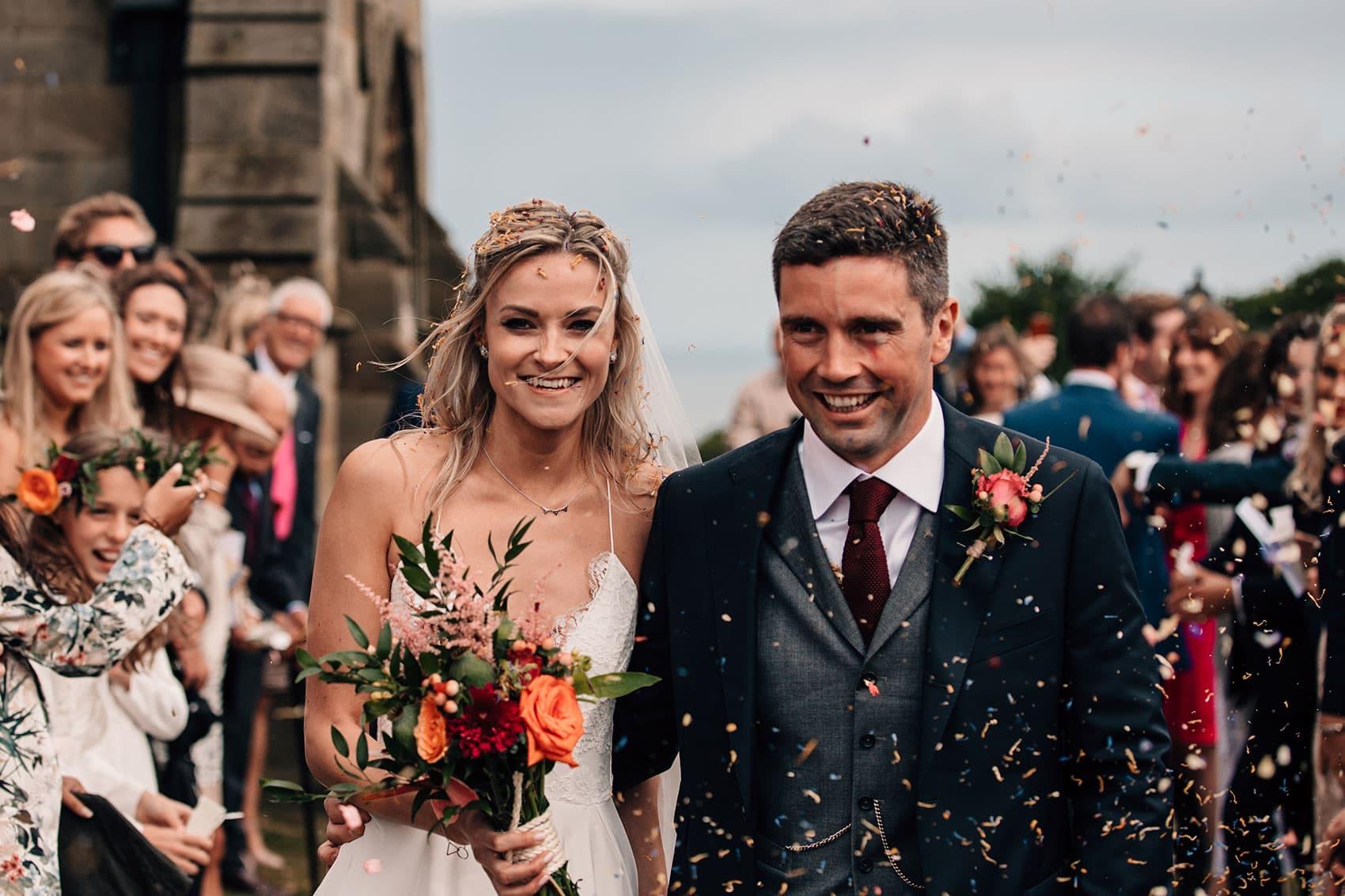 confetti walk documentary wedding photography