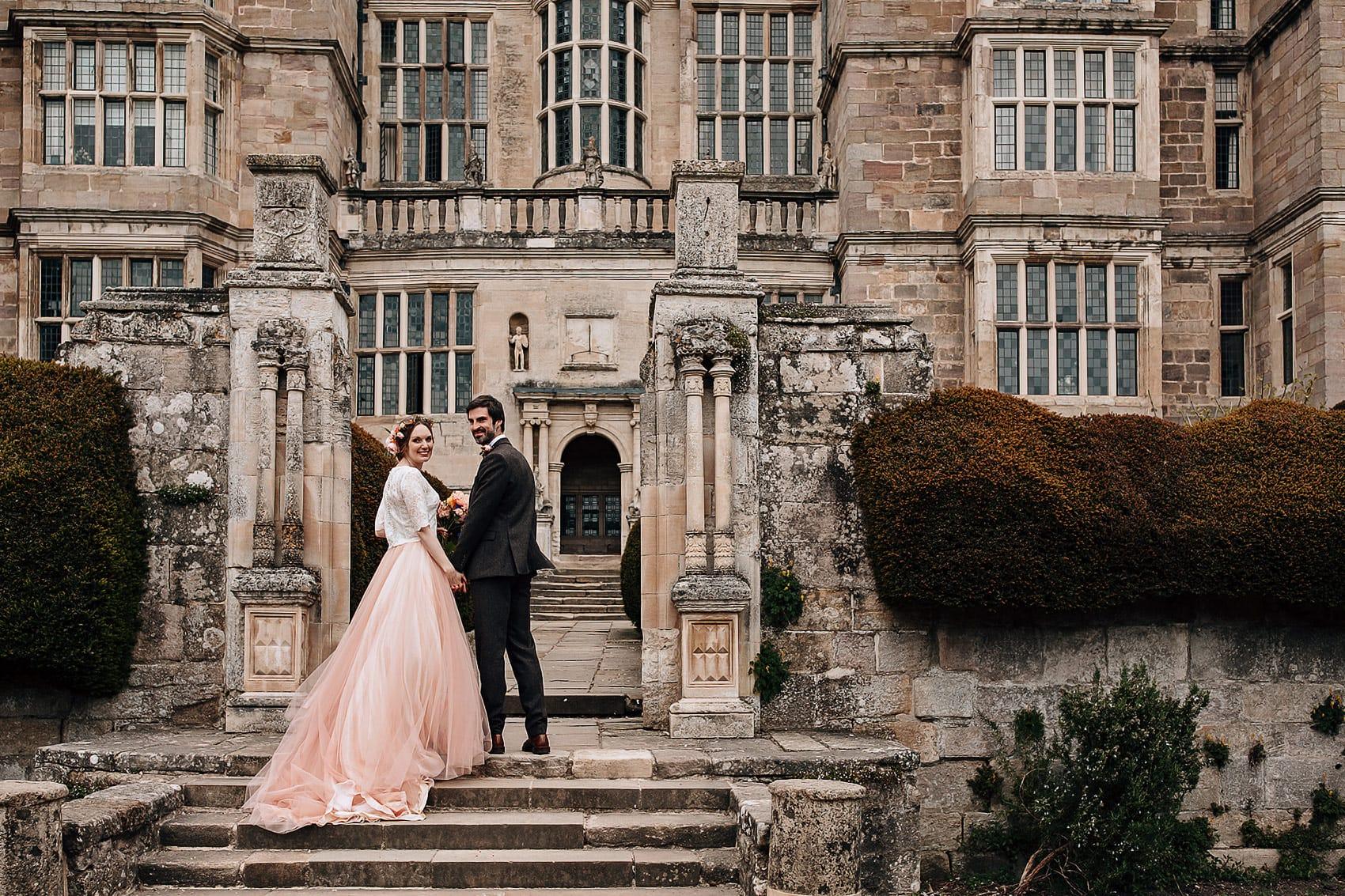 pink wedding dress rose gold