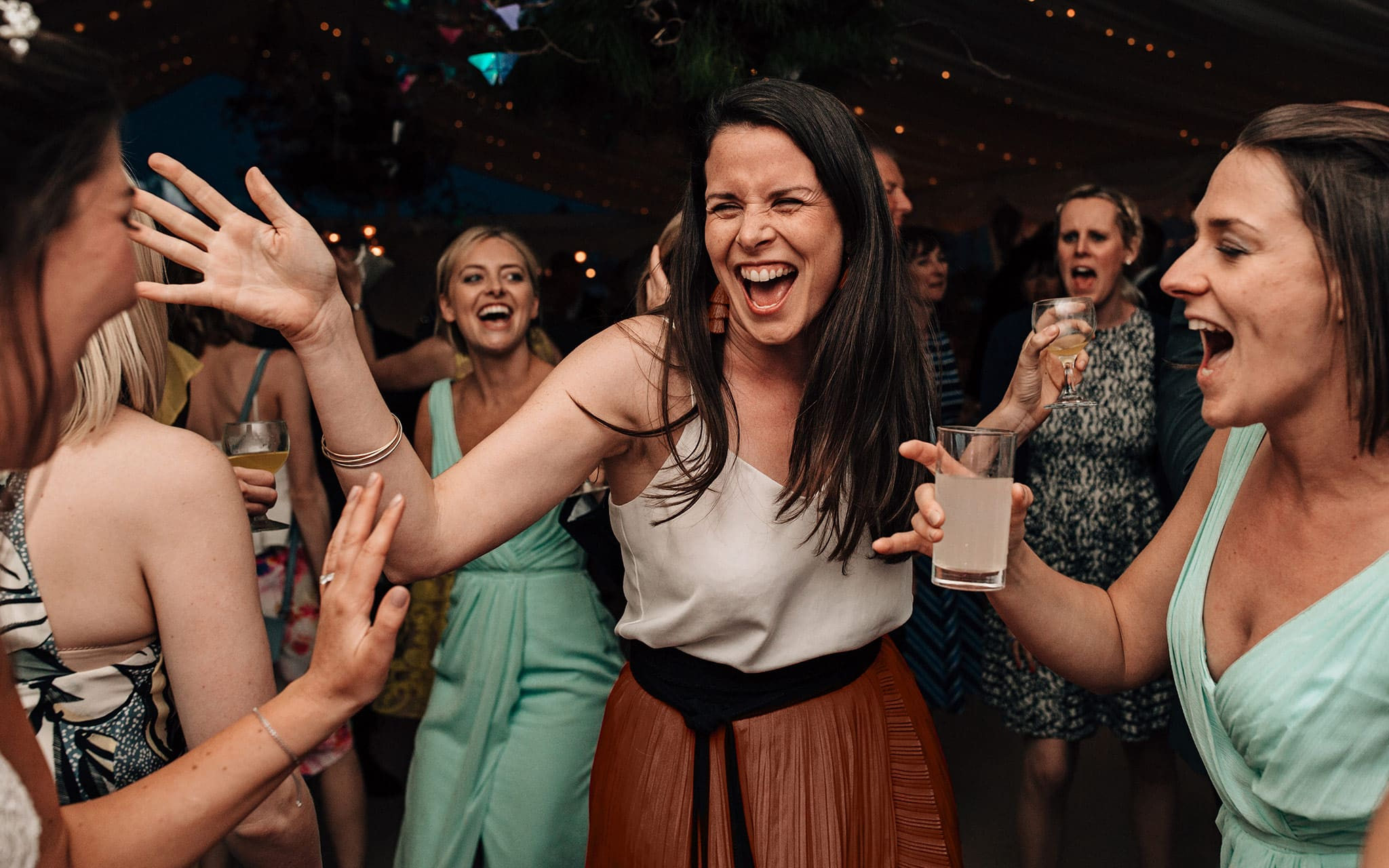 lively wedding photography Yorkshire party