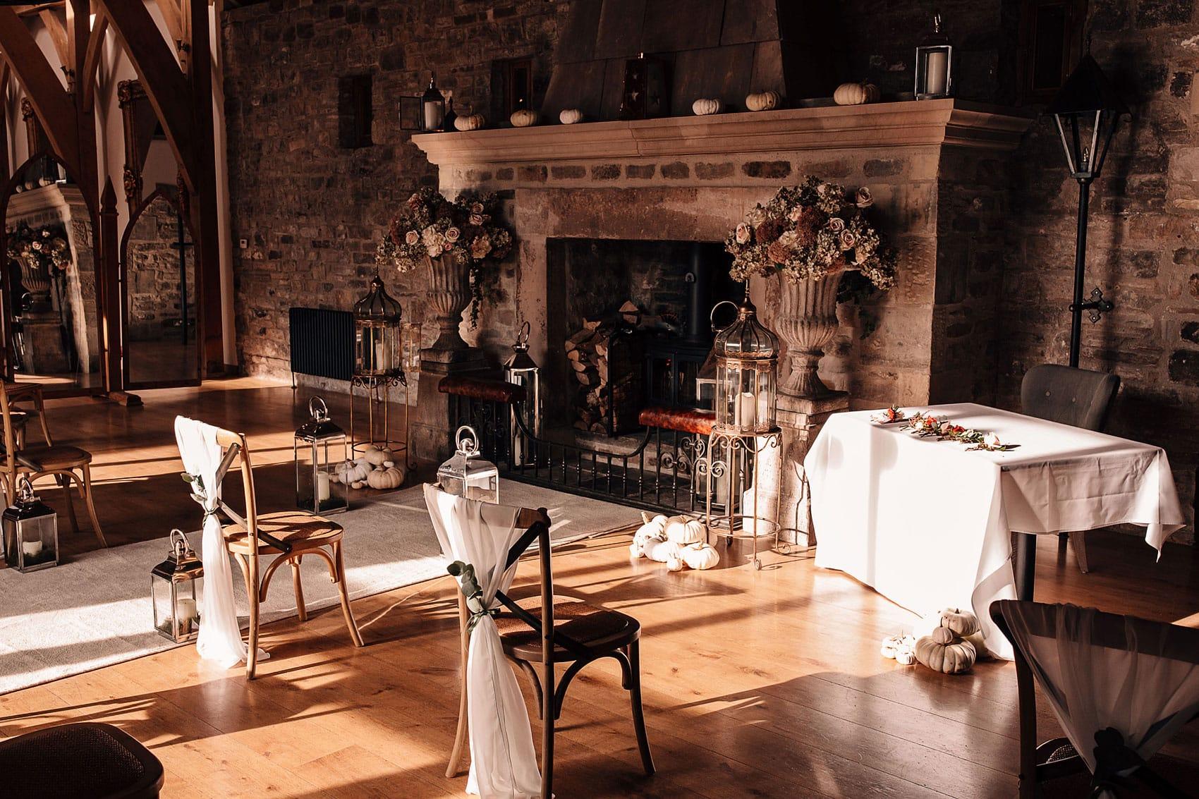 The Bell Barn Tupgill Estate small wedding ceremony setup