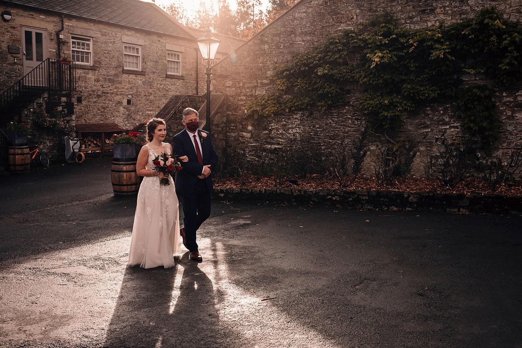brides arrival The Bell Barn Tupgill Estate